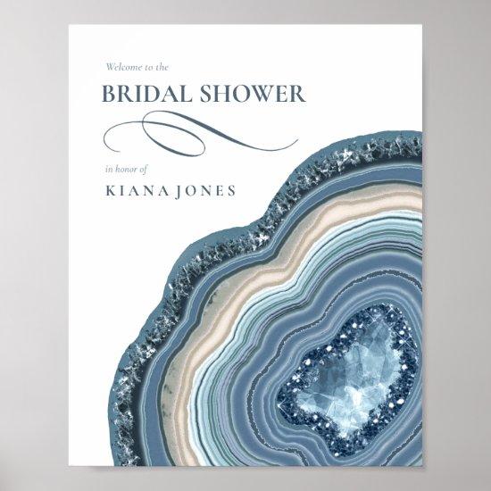 Agate Geode Glitter Bridal Shower Dusty Blue ID647 Poster