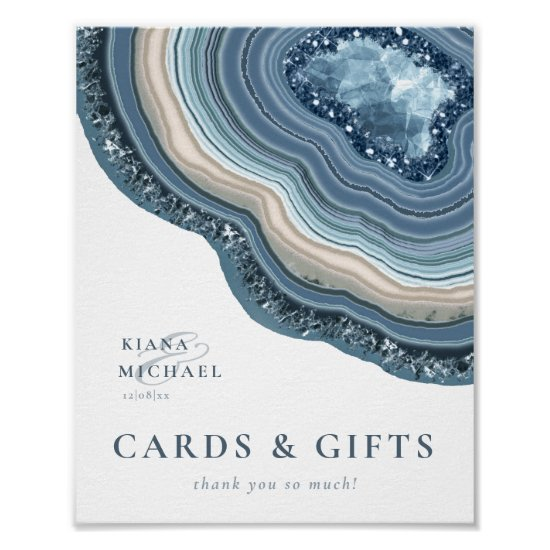 Agate Geode Glitter Cards & Gifts Dusty Blue ID647 Poster