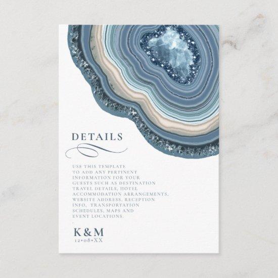 Agate Geode Glitter Details Dusty Blue ID647 Enclosure Card