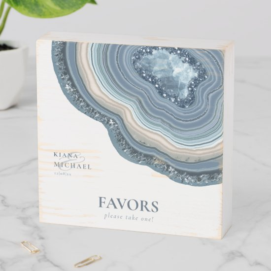 Agate Geode Glitter Favors Dusty Blue ID647 Wooden Box Sign