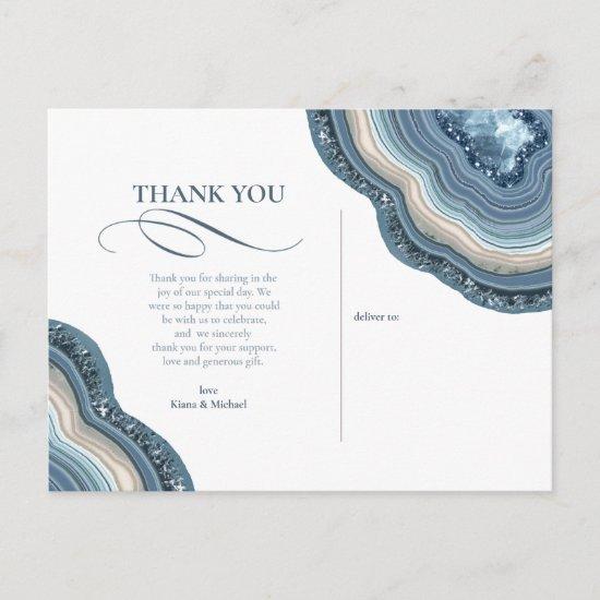 Agate Geode Glitter Wedding Dusty Blue ID647 Announcement Postcard