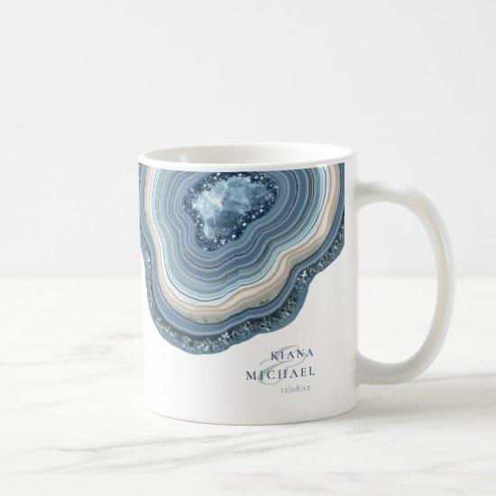 Agate Geode Glitter Wedding Dusty Blue ID647 Coffee Mug