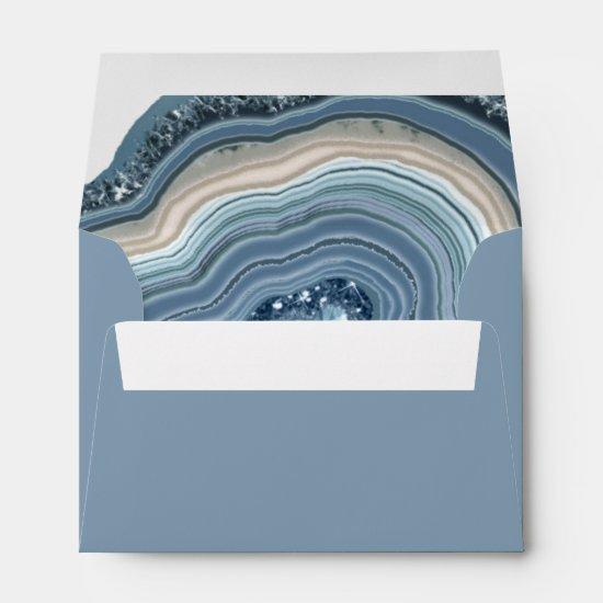 Agate Geode Glitter Wedding Dusty Blue ID647 Envelope