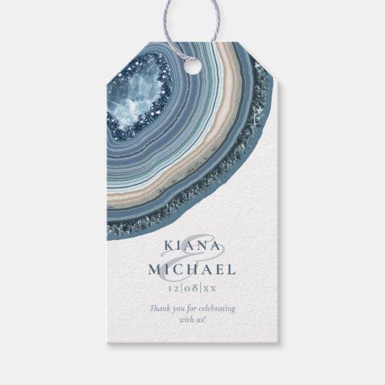 Agate Geode Glitter Wedding Dusty Blue ID647 Gift Tags