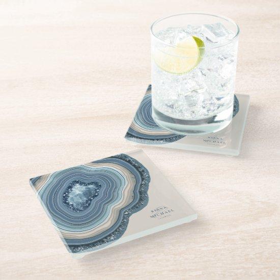 Agate Geode Glitter Wedding Dusty Blue ID647 Glass Coaster