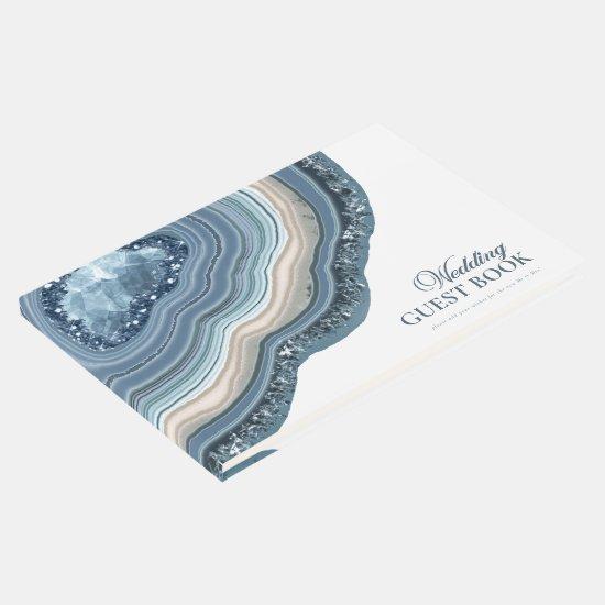 Agate Geode Glitter Wedding Dusty Blue ID647 Guest Book