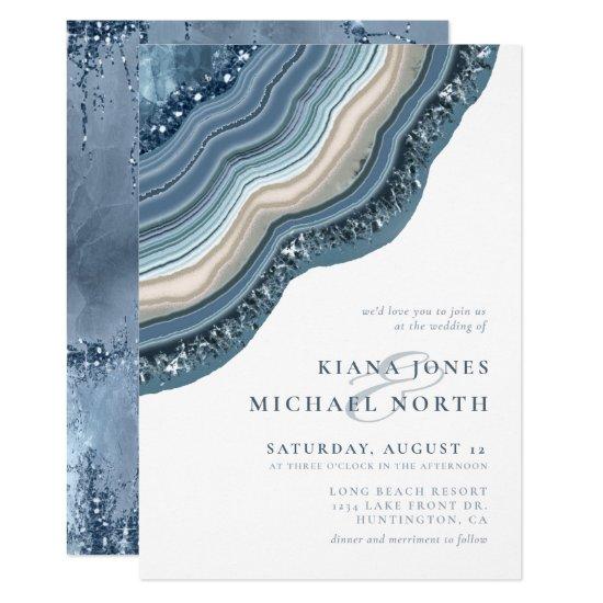 Agate Geode Glitter Wedding Dusty Blue ID647 Invitation