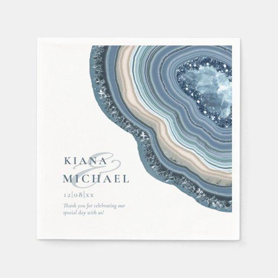 Agate Geode Glitter Wedding Dusty Blue ID647 Napkin