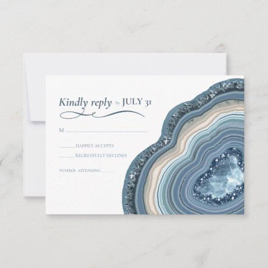 Agate Geode Glitter Wedding Dusty Blue ID647 RSVP Card