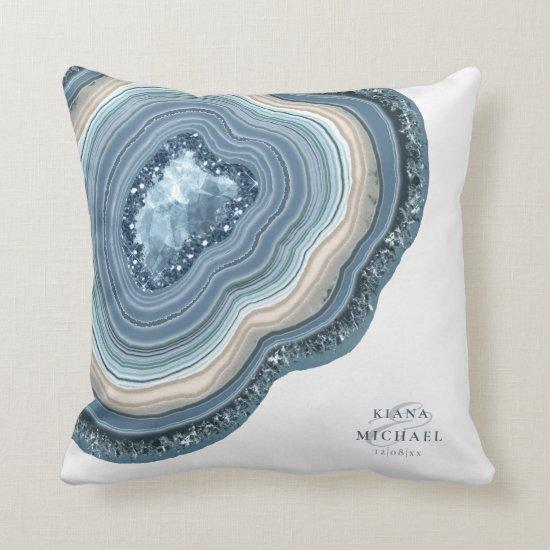 Agate Geode Glitter Wedding Dusty Blue ID647 Throw Pillow