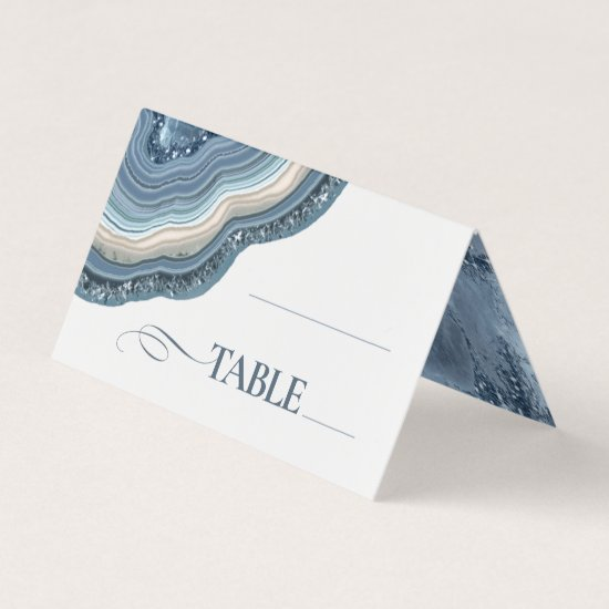 Agate Geode Glitter Wedding Table Dusty Blue ID647 Place Card