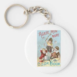 Agate Iron Ware Vintage Cookbook Ad Art Basic Round Button Keychain