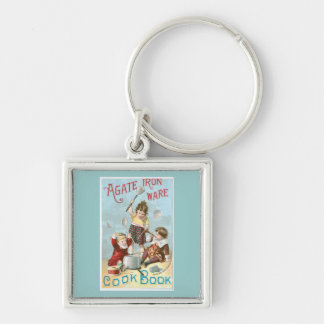 Agate Iron Ware Vintage Cookbook Ad Art Silver-Colored Square Keychain