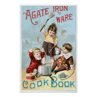 Agate Iron Ware Vintage Cookbook Ad Art Poster