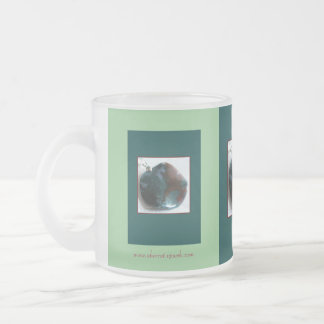 Agate of Teal and Garnet Frosted Glass Mug
