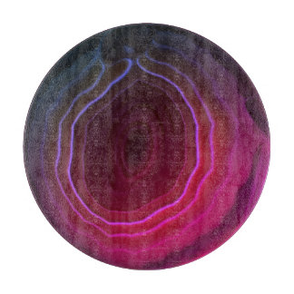 Agate slice magenta pink unusual modern chopping cutting board
