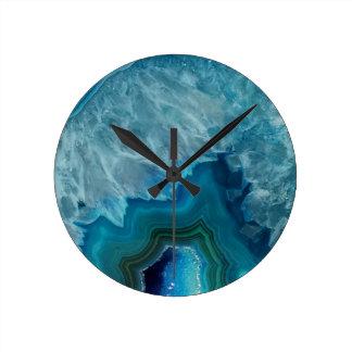 Agate stone Geode druse mineral Round Clock