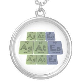 Agates-Ag-At-Es-Silver-Astatine-Einsteinium Round Pendant Necklace