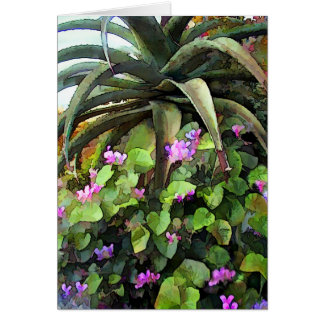 Agave and African Violets Card