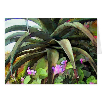 Agave and African Violets Greeting Card
