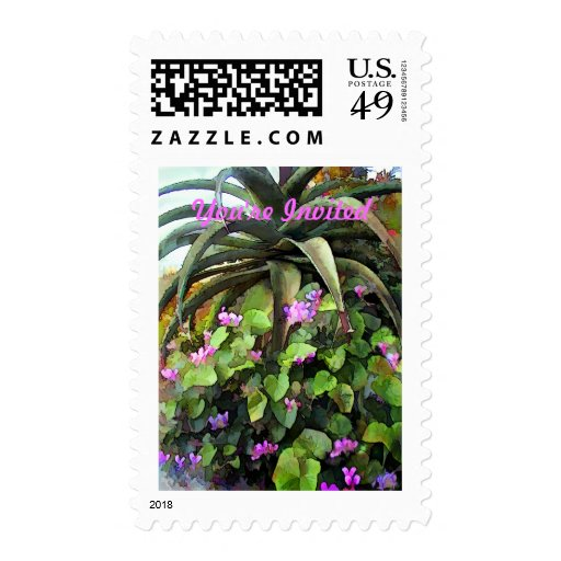 Agave and African Violets You're Invited Stamps