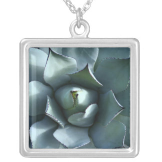 agave blue silver plated necklace