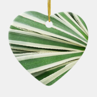 Agave Plant Green and White Stripe Double-Sided Heart Ceramic Christmas Ornament