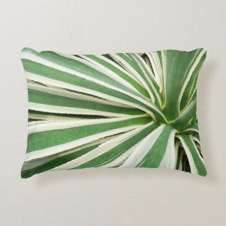 Agave Plant Green and White Stripe Accent Pillow