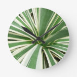 Agave Plant Green and White Stripe Round Clock