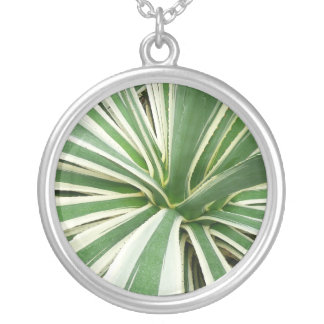 Agave Plant Green and White Stripe Round Pendant Necklace