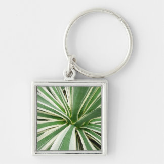 Agave Plant Green and White Stripe Silver-Colored Square Keychain