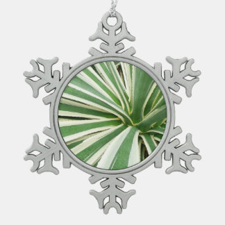 Agave Plant Green and White Stripe Snowflake Pewter Christmas Ornament