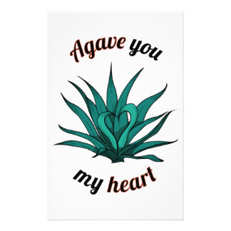 agave you my heart stationery