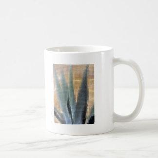 Agavo azul del mosaico 1 resplandor taza de café
