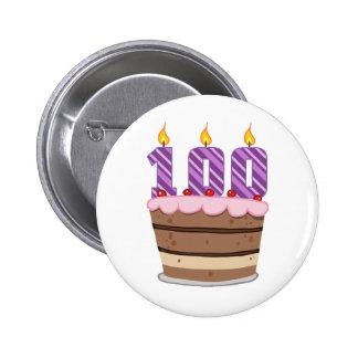 Age 100 on  Birthday Cake 2 Inch Round Button