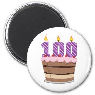 Age 100 on  Birthday Cake 2 Inch Round Magnet