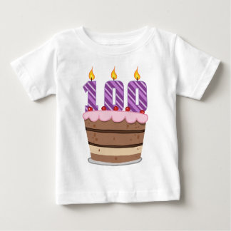 Age 100 on  Birthday Cake Baby T-Shirt