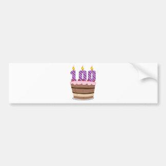 Age 100 on  Birthday Cake Bumper Sticker