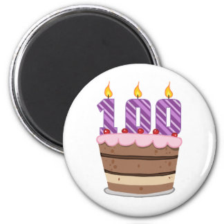 Age 100 on  Birthday Cake Refrigerator Magnets