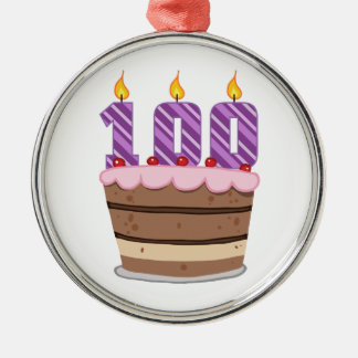 Age 100 on  Birthday Cake Metal Ornament