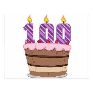 Age 100 on  Birthday Cake Postcard