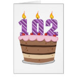 Age 102 on Birthday Cake Card