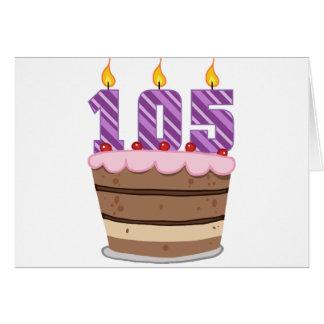 Age 105 on Birthday Cake Greeting Card