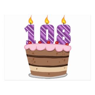 Age 108 on Birthday Cake Postcard