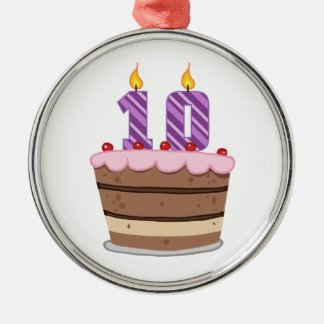 Age 10 on Birthday Cake Metal Ornament