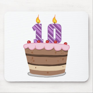 Age 10 on Birthday Cake Mouse Pad