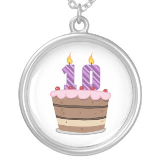 Age 10 on Birthday Cake Silver Plated Necklace