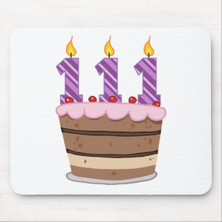 Age 111 on Birthday Cake Mouse Pad