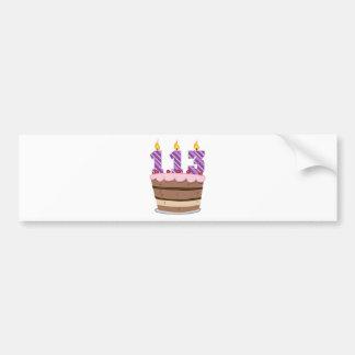 Age 113 on Birthday Cake Car Bumper Sticker