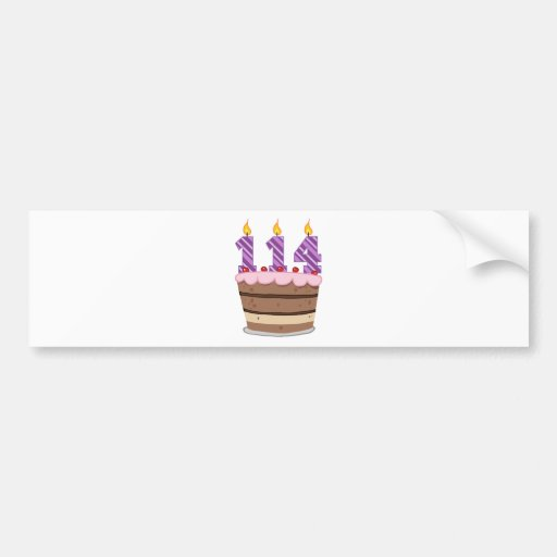Age 114 on Birthday Cake Car Bumper Sticker